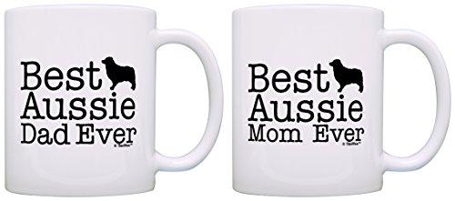 Australian Shepherd Gifts Best Aussie Mom and Dad Ever Australian Shepherd 2 Pack Gift Coffee Mugs Tea Cups - Australian Cards Gift