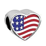 Q&Locket USA Flag Charm Heart Love Photo Bead For Bracelet
