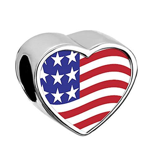 Usa Flag Charm - Q&Locket USA Flag Charm Heart Love Photo Bead For Bracelet