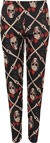 WEARALL Women's Plus Skull Bones Rose Print Stretch Halloween Costume Leggings - Black - US 20-22 (UK (Halloween Costume Cheap Uk)