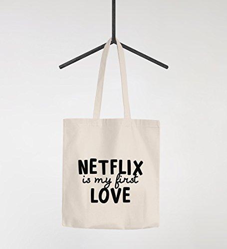 ca2f1858fde5c Amazon.de  Jutebeutel Netflix is my first love Serienjunkie chillen gammeln Baumwolltasche  Stoffbeutel Tragetasche Moonworks® natur unisize