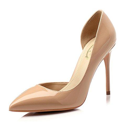 5cm YIXINY Vacía 8 Zapatos Fine Mujer Alto 5 M388 Zapatos Profunda Tacón de Apuntado Color Tamaño Talón tacón Lado 10cm Zapatos Goma 8 Poco Boca 10cm 5 EU36 Color De PU CN35 1 Desnudo UK3 vvfnTr