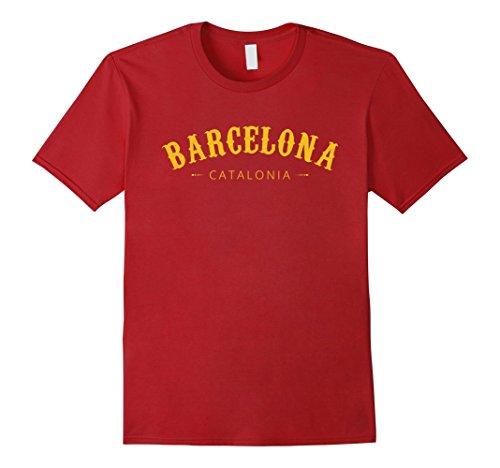 Mens Barcelona Catalonia Spain T Shirt Medium Cranberry - Barcelona Graphic T-shirt