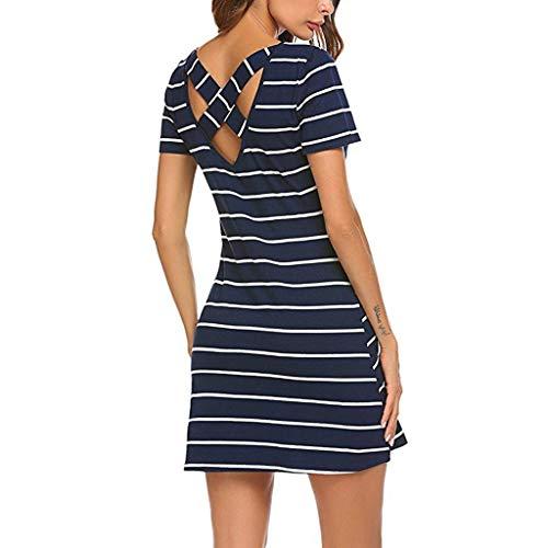Colouredays Short Sleeve Striped Backless Women Casual Striped CrossT Shirt Dress Pockets Skirt Holiday Loose Cosy Cotton Navy