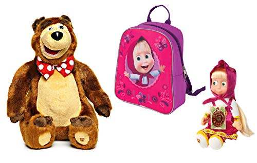 Masha and the Bear New Desing Kids Set: Plush Giggle Bear 11 inch Funny Doll Masha Soft Toy compact size 8.4-inch Speaks English 7 Phrases and 1 Song, Colorful Backpack Masha y el Oso