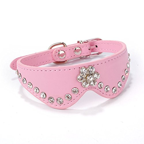 - 1 Set Bling Rhinestones Small Dog Puppy Pet Cat Collar PU Leather Dogs Necklace Soft Elastic Bow Bell Tag Indefectible Popular Extra Large Wide Reflective Safety Breakaway Training Camo Kitten Collars