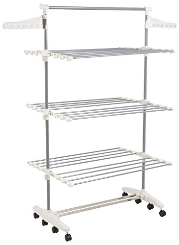 (Heavy Duty 3 Tier Laundry Rack- Stainless Steel Clothing Shelf for Indoor/Outdoor Use with Tall Bar Best Used for Shirts Towels Shoes- Everyday Home)