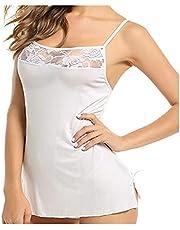 Aihui^ Women Mini Nightdress Sexy Floral Lace Sling Lingerie Mesh See-Through Chemise Side Split Pajama Nightwear