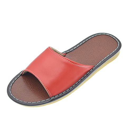Maylian Casual Womens Open Toe PU Leather Slippers Flats House Shoes