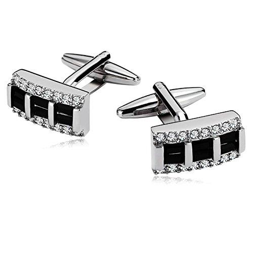 Epinki Rectangle Crystal Pierced Silver Black Stainless Steel Classic Cufflinks for Men Wedding - Boston St Target