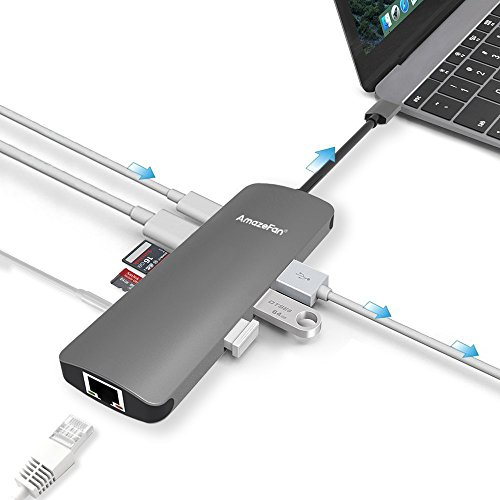 Price comparison product image USB C HubUSB C Adapter 9 in 1 Aluminum with HDMI 4K Adapter, Micro SD, SD/MMC card, 3 USB 3.0 ports, a Gigabit Ethernet port, a USB-C charging port, a 3.5mm AUX for MacBook Promore USB C Devices