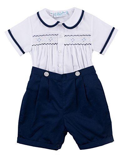 Bobby Suit (Feltman Brothers Navy & White Two Piece Smocked Boys Short Set Infant & Toddler (12 Months))