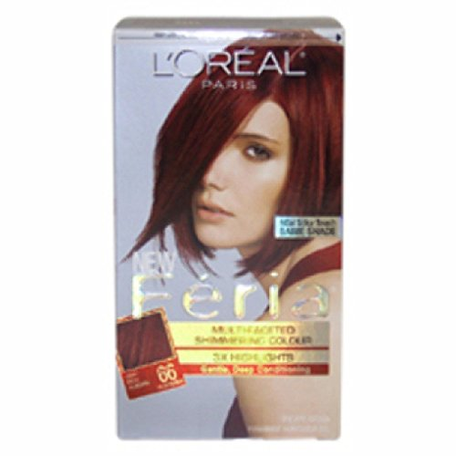 (LOreal Feria Multi-Faceted Shimmering Color 3X Highlights Very Rich Auburn and Warmer 66 - ( Pack of)