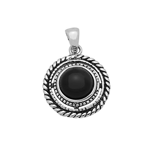 925 Sterling Silver Stone Pendant - Roun - Oxidized Black Onyx Necklace Shopping Results