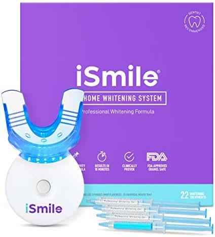 iSmile Teeth Whitening Kit - LED Light, 35% Carbamide Peroxide, (3) 3ml Gel Syringes, (2) Remineralization Gel, and Tray