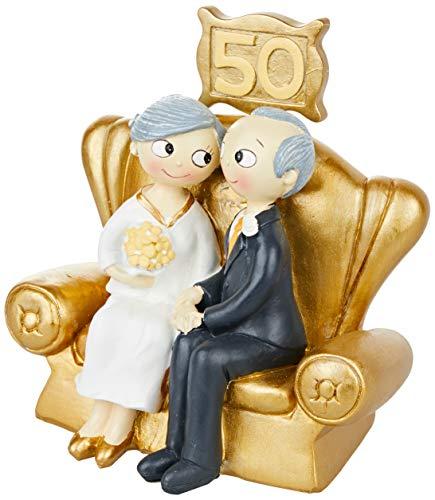 Mopec Figura Pastel Pop&Fun Bodas de Oro 16×16,5cm, acrílico, Dorado