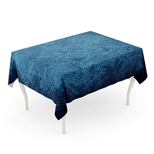 - Tarolo Rectangle Tablecloth 60 x 90 Inch Denim Stained Blue Jeans Country Western Aged Border Canvas Table Cloth