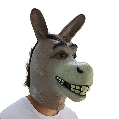 Donkey Head Mask, Animal Costume Props Shrek Donkey Face Masks Deluxe Latex Helmet Adult Halloween Party Grey -
