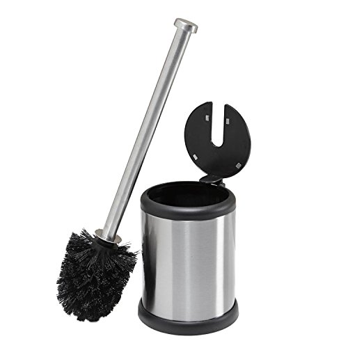 Bath Bliss Toilet Brush and Holder with Self Closing Lid Bathroom Accessory Toilet Brush Holder