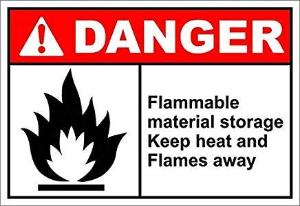 (Flammable Material Storage Danger OSHA/Ansi Sign Self Adhesive Vinyl Warning Stickers Van Truck Notice Safety Sign Lable Dacal 10 Inches X 14 Inches)