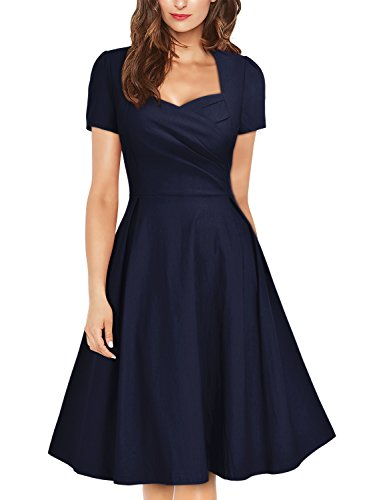 Missmay Women's Vintage 1950s Navy Style Short Sleeve Pleated Cocktail Swing Dress (Medium, A-Navy Blue)