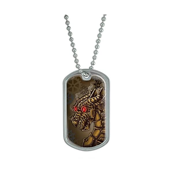 Graphics and More Steampunk Dragon - Mechanical Robot Bronze Cogwheels - Gears Military Dog Tag Keychain 3