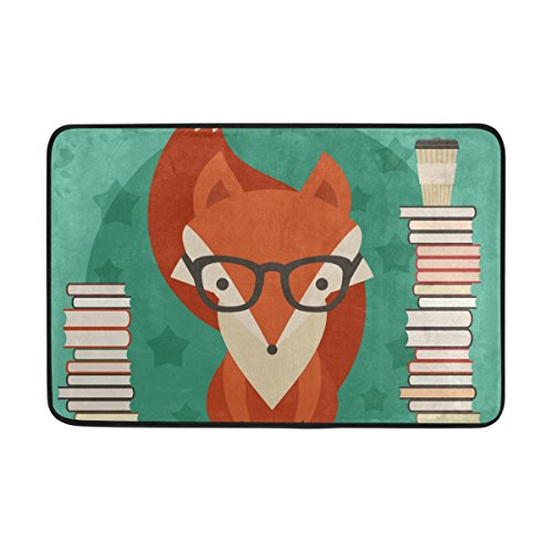 LORVIES Fox In Glasses With Many Books Doormat, Entry Way Indoor Outdoor Door Rug with Non Slip Backing, (23.6 by 15.7-Inch)