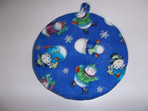 Pot Snowman Holder - Quilted Pot Holders, Hot Pads, Colorful Blue Snowman Potholders, Fabric Round, Handmade, Trivet, Double, Insulated 9 Inches