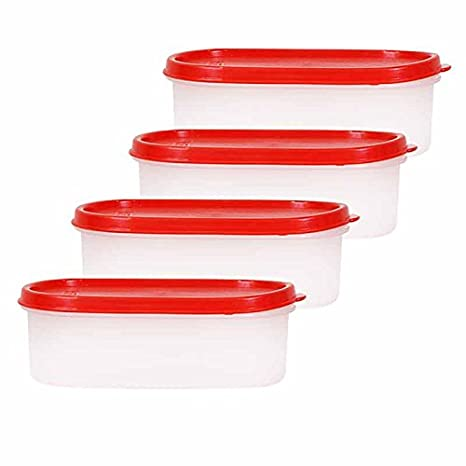 SSD Microwaveable Space Saver 4PC   600 ml Plastic Multi purpose Storage Container  Set of 4 , White, Red  Kitchen Storage   Containers
