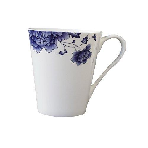 Bone China  Blue-and White Porcelain Mug ,13oz, with Handle ,ICON ,Set of 2 (Icon 2 Handle)