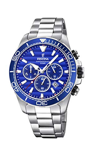 Men's Watch Festina - F20361/2 - Chronograph - Quartz - Date - AM/PM - Steel and Blue - Stainless-Steel Strap