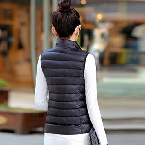 Gilet Schwarz Ultra Mode Femmes Hiver Automne Col Fit Coréen Léger Couleur Casual Quilté Doudoune Manches Manteau Chaud Court Pure Slim Élégant Sans Jeune axw1qd6