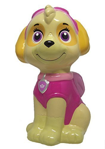 Nickelodeon Paw Patrol Ceramic Ceramic Coin Piggy Bank For Kids, Girls, and Adults or Collectors. Pink and Purple Colors. Ages 8 and Up. 4.25 Inches Wide X 7.59 Inches Tall X 4.52 Inches. ()