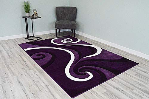 PlanetRugs Premium 3D Effect Hand Carved Thick Modern Contemporary Abstract Area Rug Design 327 Purple - Rug Geometric Purple