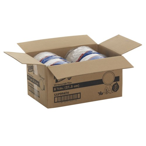 """Dixie Ultra SXP9PATH Pathways Wise Size Heavy Weight Paper Plate, 8.5"""" Diameter (Case of 4 Packs, 125 Plates per Pack)"""