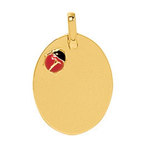 So Chic Bijoux © Pendentif Plaque & Coccinelle Laque Rouge Noir Or Jaune 750/000 (18 carats) - Personnalisable : Gravure offerte