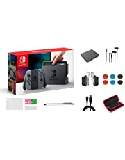 """Nintendo Switch Console Video Games Gray Joy-Con, 32GB of Internal Storage, 6.2"""" Touchscreen LCD Display, 802.11AC WiFi, Bluetooth 4.1, with GM 14-in-1 Super Kit Case"""