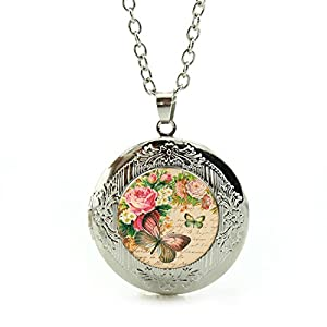 Women's Custom Locket Closure Pendant Necklace Butterfly Flower Included Free Silver Chain, Best Gift Set