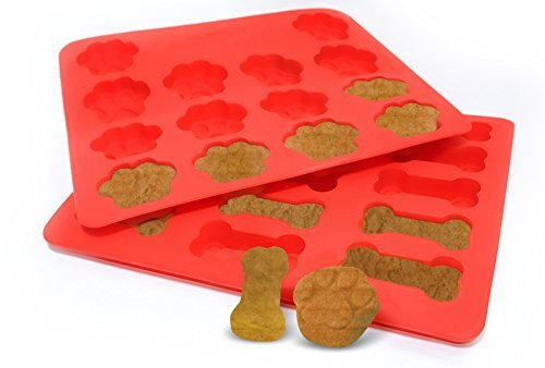 CorkyFur 2 Pack Silicone Paw and Bone Dog Treat Molds - & Recipe Guide - 12 x 10 inch pans