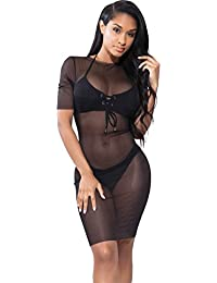 Women's Sexy See Through Pencil Mesh Dress