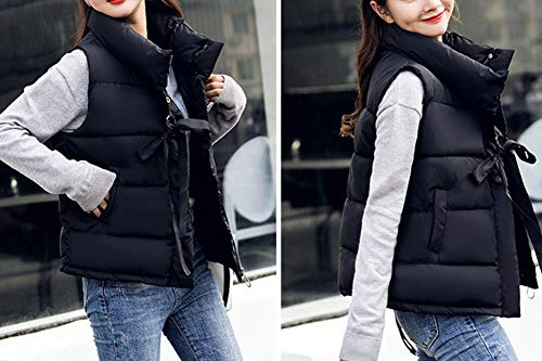 Jacket Zip Women's Warm Gilet Sleeveless Padded Quilted Puffer Stand Vest Collar Black Up qwwWnIFPZ
