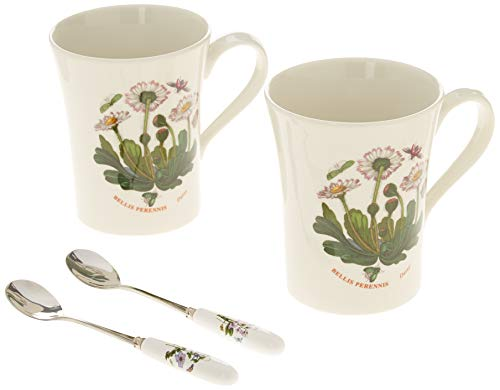Botanic Garden Breakfast Mug - Portmeirion 519589 Botanic Garden Set of 2 Mugs with Spoons, 10 Oz, White
