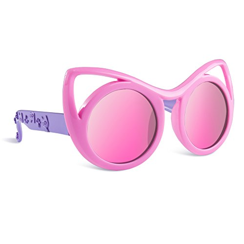 SEEKWAY Kid's Polarized Silicon Rubber Sunglasses For Toddlers Children Age 3-10 SRK8122(Pink,Pink Mirrored - Glasses Safety Mirrored Wholesale