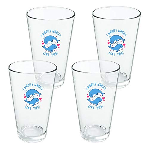 I Whaley Like You Really Whale Love Funny Humor Novelty 16oz Pint Drinking Glass Tempered - Set of 4 ()
