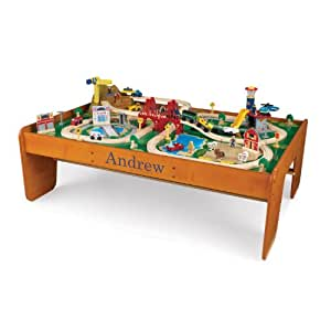 KidKraft Personalized Ride Around Train Table and Set with Blue Library - Andrew