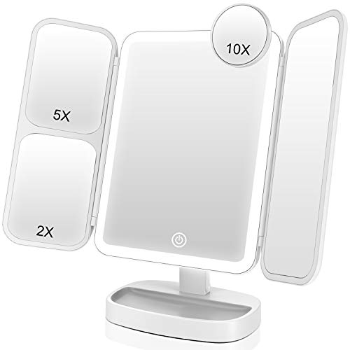 EASEHOLD Makeup Vanity Mirror with 1000LUX LEDs Soft Lights 1X 2X 5X 10X Magnifying Desk Beauty Cosmetic Portable Trifold Touch Screen Dimmable Dual Power Tabletop Face Venus Mirror Version III