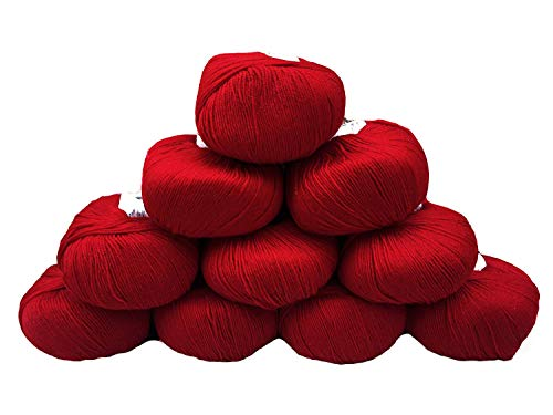 - Yarn Place Basic Fingering Weight Yarn 100% Wool 500 Grams 10 Skeins (Ruby Red Basic 2225)