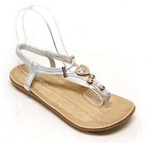 Per Sempre Calista-84 Sandalo Infradito Da Donna Con Cinturino Alla Caviglia E Cinturino A Cuore Con Decorazione Dorata 10