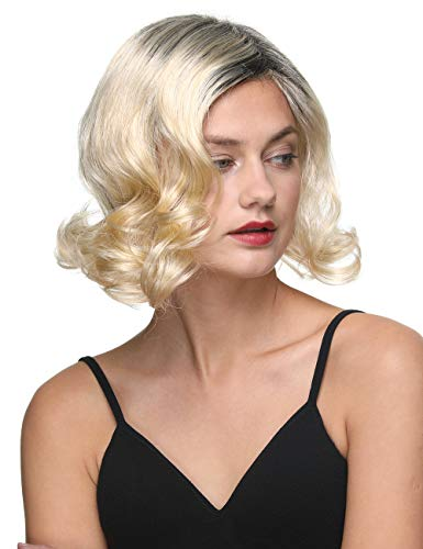 Short Wavy Bob Wigs for Women Side Part Full Ombre Black and White Blonde 12 Inch Ladies Synthetic Kanekalon Hair Replacement Wig 1Month Guarantee