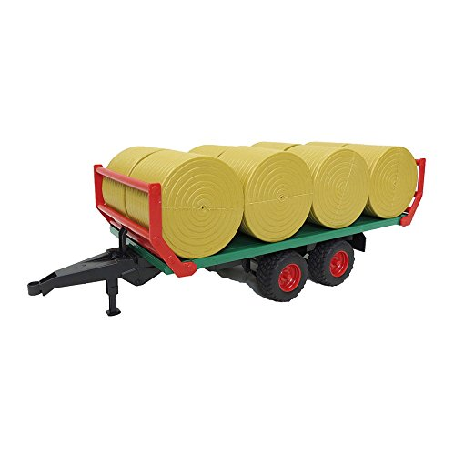 Hay Trailer - Bruder Bale Transport Trailer with 8 Round Bales